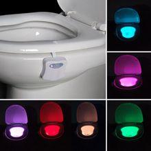 8 цветов светодиодный свет Туалет движения Сенсор активированный ванная комната ночь лампы унитаз свет Творческий Ночные светильники(China (Mainland))