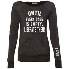 Beagle Freedom Project Eco Black Off The Shoulder Eco-Fleece Sweatshirt - Until Every Cage Is Empty Liberate Them