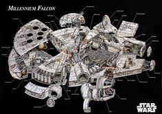 Star Wars  Millenium Falcon Explosionszeichnung