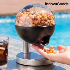 Liven up your parties and celebrations with this unique product: the Sweet & Salt Ball Mini Sweets and Nuts Dispenser! Just move your hand close to the slot for your favourite sweet or salty snacks to fall, as it features a touch sensor that d. Chewing Gum, Mini Automatic, Salty Snacks, Popcorn Maker, Minion, Dog Food Recipes, Sweets, Eat, Breakfast