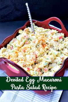 Combine your love of deviled eggs and pasta salad in this Deviled Egg Macaroni Pasta Salad Recipe. It is the perfect summer side dish! Combine your love of deviled eggs and pasta salad in this Deviled Egg Macaroni P. Macaroni Pasta Salad, Pasta Salad Recipes, Noodle Recipes, Deviled Egg Macaroni Salad Recipe, Recipe Pasta, Pasta Dishes, Food Dishes, Pasta Food, Side Dish Recipes