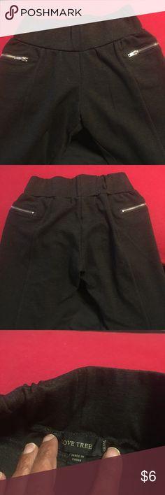 Leggings 2 1/2 inch waist band stretch leggings. Zipper details.  No pockets. 25 1/4 inch inseam. Love Tree Pants Leggings