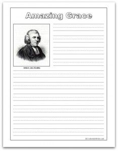 Hymn Study: Amazing Grace--includes hymn history, lyrics, sheet music, free printable copywork and notebooking pages, and more #homeschool