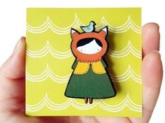 Miss Fox Wood Brooch. $15.00, via Etsy.