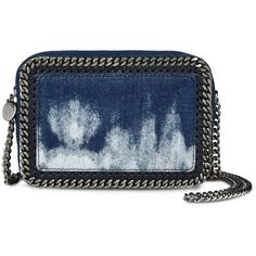 Stella McCartney Tie Dye Denim Falabella Cross Body Bag ($860) ❤ liked on Polyvore featuring bags, handbags, shoulder bags, blue denim, cross-body handbag, denim shoulder bag, crossbody purse, blue shoulder bag and stella mccartney handbags