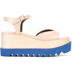 Stella McCartney platform colour block sandals ($995) ❤ liked on Polyvore featuring shoes, sandals, platform shoes, colorblock shoes, ankle wrap sandals, stella mccartney shoes and open toe sandals