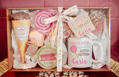 Lola Wonderful_Blog: DÍA DE LA MADRE 2016 - Regalos personalizados Crafts To Sell, Diy And Crafts, Valentines Day Baskets, Girl Spa Party, Cute Presents, Diy Gift Baskets, Sweet Box, Party In A Box, Spa Gifts