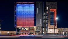 Chandler City Hall JJR Facade Lighting, Chandler Arizona, Arizona Usa,  Architectural Lighting Design