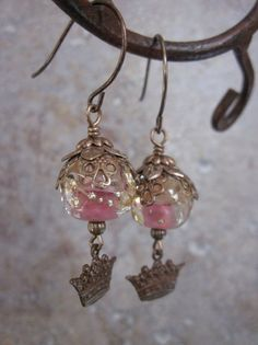 Crown Earrings with Pink Lampwork by skyejewels on Etsy, $25.00