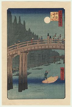 Bamboo Yards, Kyobashi Bridge  by Hiroshige (1797 - 1858)