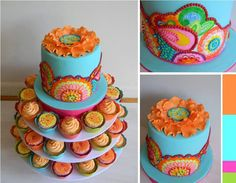 Moroccan Style wedding cake with cupcakes <3