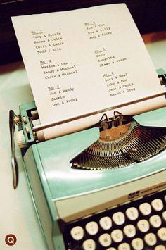 Type your wedding seating plan on a genuine vintage typewriter! Table Seating Chart, Wedding Table Seating, Reception Seating, The Plan, How To Plan, Wedding Guest Book, Wedding Blog, Wedding Ideas, Wedding Signs