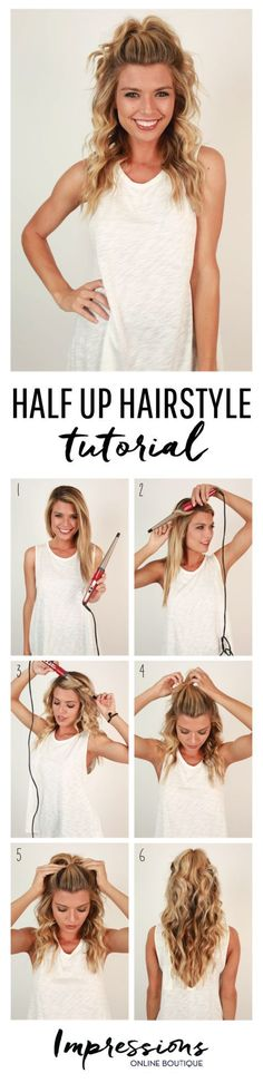 What the Hair?! Half-Up Hair Tutorial • Impressions Online Women's Clothing Boutique #womenclothing