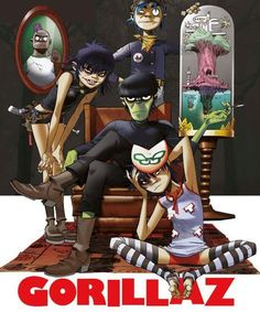 Gorillaz posters: Gorillaz poster featuring a family portrait style picture of the virtual band's characters; Murdoc, Noodle and Russel. The Gorillaz were formed in 1998 by Damon Albarn of Blur and Jamie Hewlett. Art Gorillaz, Gorillaz Noodle, Cyborg Noodle, Damon Albarn, Tank Girl, Gorillaz Plastic Beach, Jamie Hewlett Art, Street Art, Cool Bands