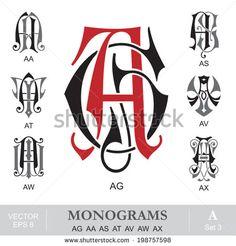 Vintage Monograms AG AA AS AT AV AW AX Monogram Tattoo, Monogram Logo, Monogram Letters, Graffiti Lettering, Hand Lettering, Typography, Monogram Design, Logo Design, Tiffany Art