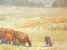 One of my favorite 18 x 24 original oil paintings by Jessie Rasche. This is all in nice warm colors, and shows a herd of cows with calves on a field.