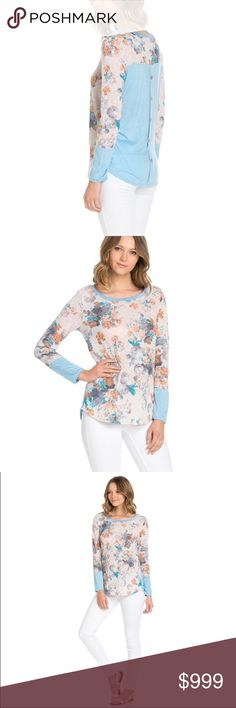 Beautiful, Button-Back Knit Floral Top 🇺🇸100% MADE in the UNITED STATES 🇺🇸               This knit pastel long sleeve top is sure to be your new wardrobe go to! The Blossom Apparel Sweaters Crew & Scoop Necks