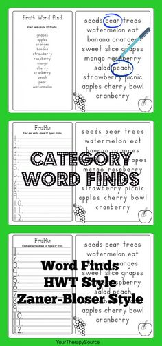 Category Word Find Freebie www.YourTherapySource.com
