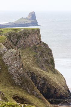 Worm's Head, Wales, UK. Rhossili is famous for its natural beauty.