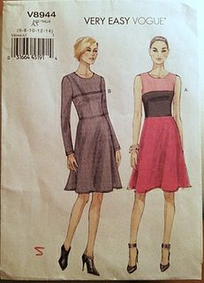 1efbd6462cf Vogue 8944 Free Us Ship Contrast Dress Sewing Pattern Size Bust 30 31 32 34  36 38 40 42 44 Uncut Out of Print 2013 by LanetzLiving on Etsy