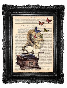 Gramophone Mixed Media HAND Painted and  art print  by ArtElem, $8.97