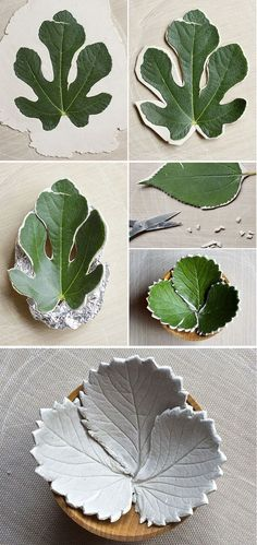 Make diy leaf bowls from air dry clay                                                                                                                                                                                 Mais