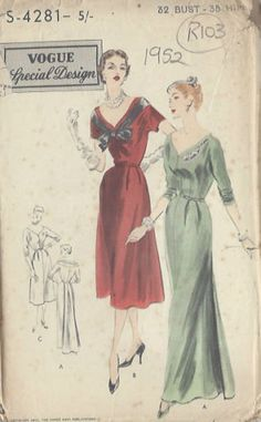 Vogue S-4281   1952 Day or Evening Dress