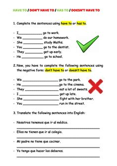 Have to Interactive worksheet English Time, English Class, Grammar Worksheets, Worksheets For Kids, Grammar Book, Do Homework, School Subjects, Your Teacher, Going To Work