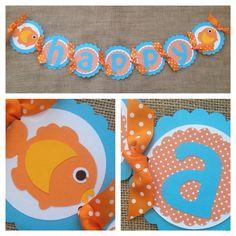 Goldfish Birthday Banner Fish Birthday Banner by AWhimsyPartyShop, $29.00