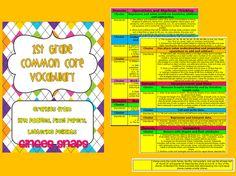 1st grade common core vocabulary