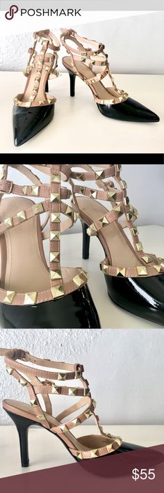 BCBG generation shoes Studded tstrap heel!   Black faux leather shoe, with nude straps and gorgeous gold toned hardware.  *** Heel height is only 3 1/2 & so easy to walk in!   Size: medium ~NEVER WORN~ BCBGeneration Shoes Heels