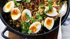 Smoked eel kedgeree recipe : SBS Food
