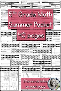 Looking for a 5th grade summer math packet? This is a great resource for you to review the 5th grade math curriculum! There are 40 pages filled with math to review all 5th grade standards. This is also a great tool for math workshop because the standard is written on each page! Perfect for standards based grading! Each page covers a standard so you know exactly what is being assessed. I am going to use it for formative assessment check ins with my students.