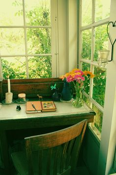 Writing desk...perfect lil' corner of the world, all to yourself. Your own nest to crawl into <3
