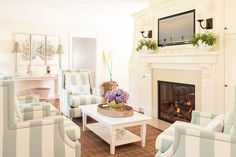 Seafoam color scheme in a small beachy living room. Featured on CC: http://www.completely-coastal.com/2015/11/small-beach-living-room-in-seafoam-green-and-white.html