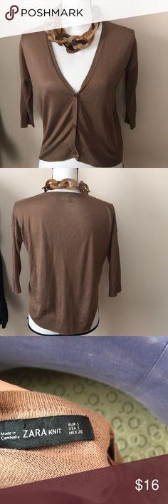 "Zara cropped sweater Zara cropped sweater, camel shade, 19 1/2"" long As01 Zara Sweaters Cardigans"