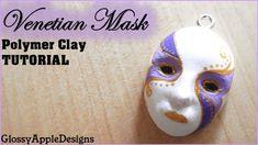 Polymer Clay Venetian Mask Charm.Pendant TUTORIAL