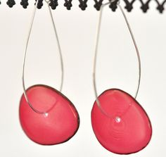 #Hot #Pink #Tagua #Nut #Elongated #Loop #Earrings #MadeinUSA #local #locavore #gifts #jewelry #seattle