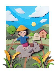 Paper Sculpture : A child in rice field by Wirin Chaowana, via Behance