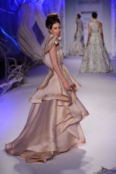 Amazon India couture week 1015 gaurav gupta, silt and cipher collection, silk, ruffles, fairytale, vintage, gown, engagement