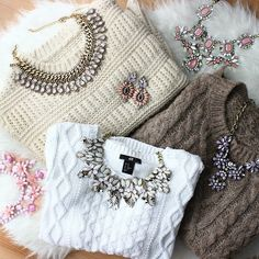 Basic Sweater + Statement Necklaces