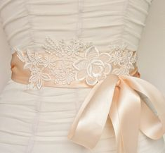 Bridal Sash Belt Lace Bridal Sash Wedding Belt by FancieStrands Wedding Sash Belt, Wedding Belts, Yves Saint Laurent, Dress Sash, Ivoire, Bridal Lace, Wedding Dress Styles, Handmade Wedding, Bridal Accessories