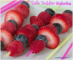 Safe toddler kabobs: use cocktail straws! Colorful, safe, not as long, etc.