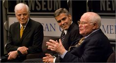 """Host Nick Clooney, George Clooney and Bill Small discuss the movie """"Good Night, and Good Luck"""" as part of the """"Reel Journalism"""" film series. (Maria Bryk/Newseum)"""