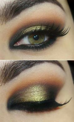 Gold and Black eye makeup