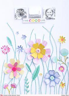 Floral Layout by Steffi Ried | @paigeevans @pinkpaislee #scrapbooking