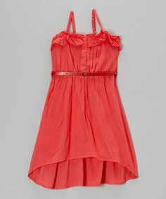 Love this Pink Grapefruit Belted Hi-Low Dress - Toddler & Girls by Chillipop on #zulily! #zulilyfinds