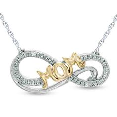 """Diamond Accent """"MOM"""" Infinity Pendant with 18"""" Chain In Sterling & 14K Gold Over #gemdepot #InfinityPendant #BlackFridayDealsChristmas"""