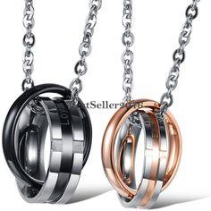 Edelstahl Partner Halskette Doppelringe 2 Ringe Kreuz Anhänger Kette Lasergravur