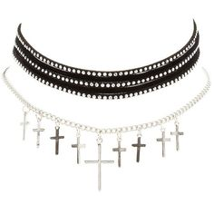 Charlotte Russe Studded & Cross Chain Choker Necklaces - 2 Pack ($6) ❤ liked on Polyvore featuring jewelry, necklaces, silver, layered necklace, multi layer chain necklace, crucifix necklace, choker necklace and cross pendant jewelry